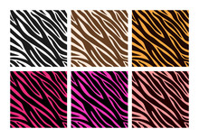 Colorful Zebra Print. Vector Skin Zebra Seamless Pattern For Textile, Fabric, Wallpaper, Wrapping Paper, Poster, Background, Web. Wild Animal Zebra Striped Lines.Realistic Animal Texture.Fashion Style