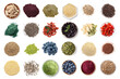 canvas print picture - Set of different superfoods on white background, top view