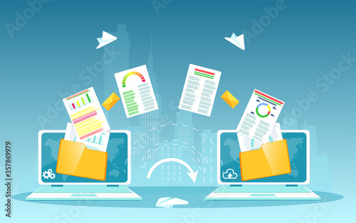 Obraz Vector of two laptops and financial file transfer process - fototapety do salonu