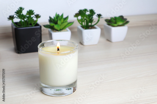 aromatic scent glass candles and small cactus in the pot are displayed on the ta Canvas Print