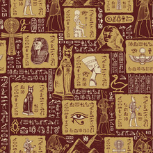 Seamless Pattern On An Ancient Egypt Theme With Sketches And Scribbles. The Hieroglyphs Are Randomly Selected And Do Not Make Sense. Vector Abstract Background. Wallpaper, Wrapping Paper, Fabric