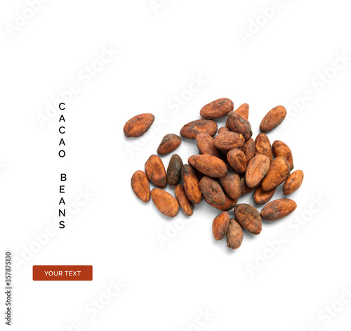 Fotomural Creative layout made of cacao beans on white background