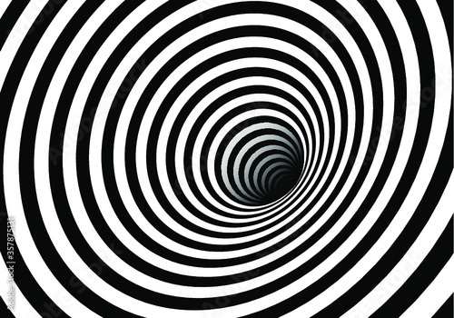 Fototapety, obrazy: Vector optical art illusion of striped geometric black and white abstract surface flowing like a hypnotic worm-hole tunnel. Optical illusion style design.