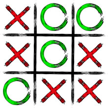 Game Tic Tac Toe. Tic-tac-toe In Grunge Style. Board Game Icon And Crosses Board Game Isolated. Vector