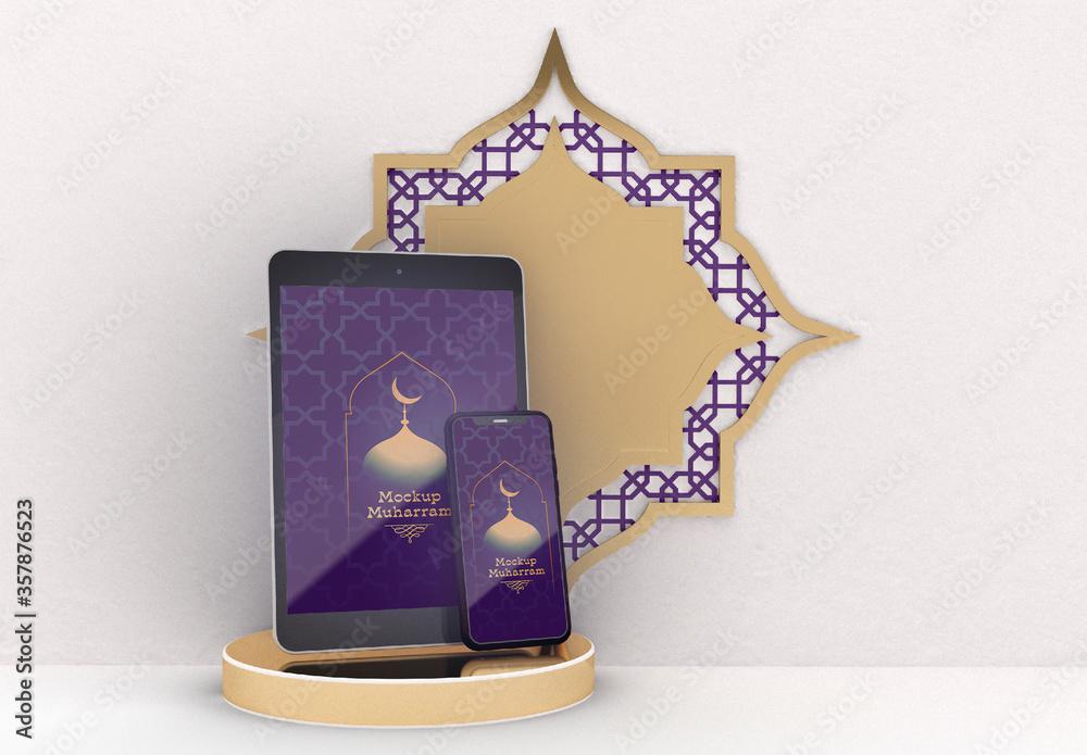 Fototapeta Mockup of Tablet and Smartphone with Islamic Muharram Concept