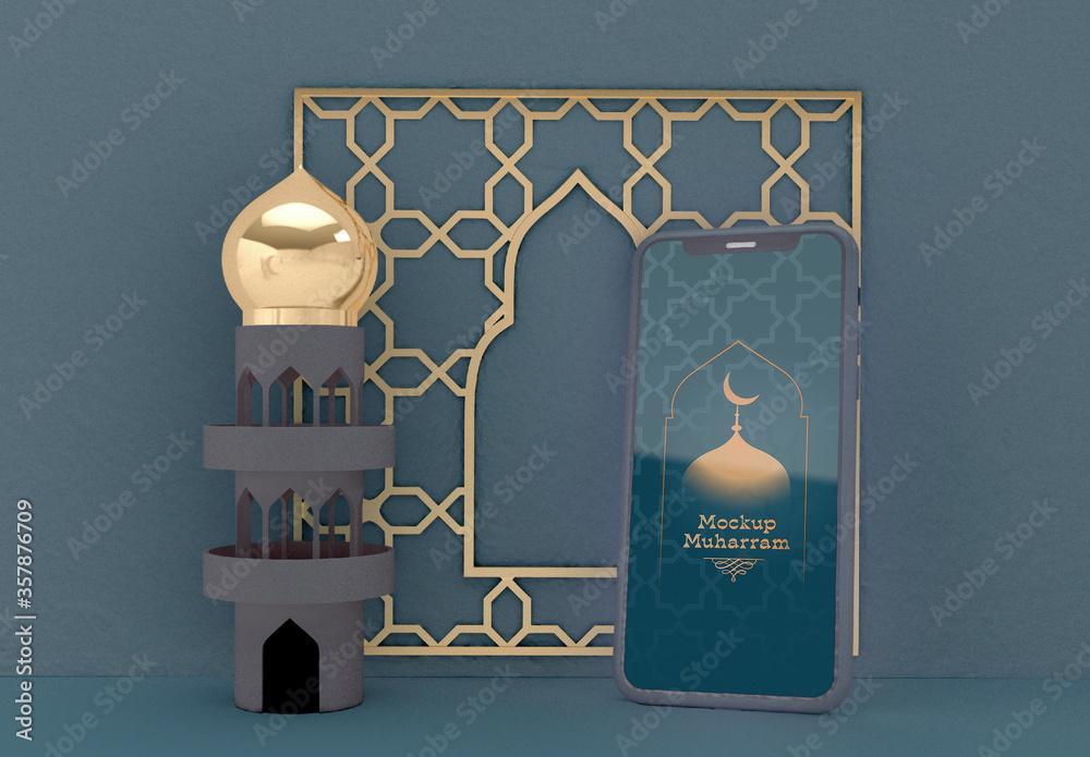 Fototapeta Smartphone Mockup with Islamic New Year Scene