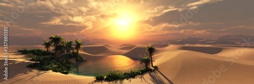 Oasis with palm trees in the sand desert at sunset, 3D rendering