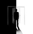 canvas print picture - Wahl zwischen dem Eintritt in eine schwarze oder weisse Tür