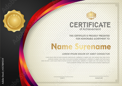Fotografia, Obraz Elegant and futuristic certificate template with curved line shape ornament modern pattern,diploma