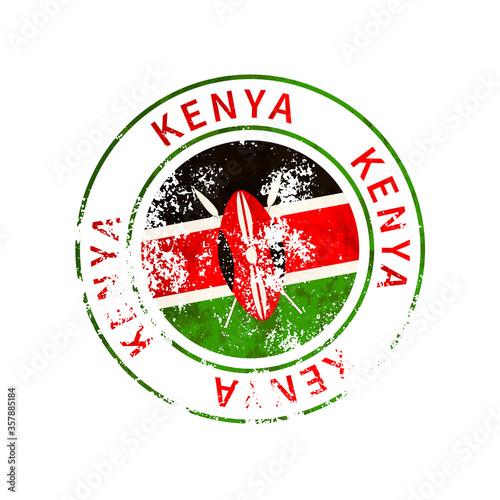 Fotografija Kenya sign, vintage grunge imprint with flag on white