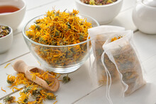 Bowl Of Dry Marigold Flowers, ...