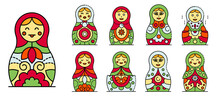 Nesting Doll Icons Set. Outline Set Of Nesting Doll Vector Icons Thin Line Color Flat Isolated On White