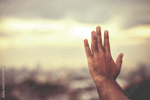 Human hands open palm up worship Praying with faith and belief in God of an appeal to the sky Canvas Print