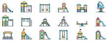 Kid Playground Icons Set. Outl...