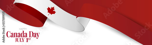 Canada day banner or header background. July 1 national holiday. Canadian flag waving ribbon with maple leaf. Vector illustration red and white colors.