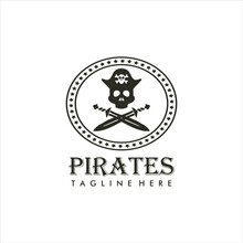 Vintage Logo Of A Pirate Design With A Skull Head And Two Crossed Swords. Pirate Logo Design Inspiration