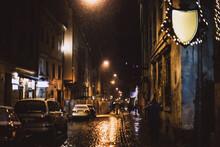 Wet Evening City, Cars Under T...