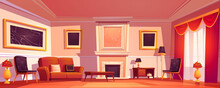 Old Luxury Living Room Interior With Sofa, Armchairs And Marble Fireplace. Vector Cartoon Illustration Of Empty Lounge In Classic Style With Red Curtains And Paintings In Golden Frames