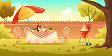 BBQ Party On Backyard With Cooking Grill, Food On Table, Chairs And Umbrella. Vector Cartoon Illustration Of Picnic With Barbecue On Summer Lawn In Park Or Garden