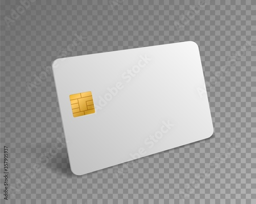 Obraz Blank credit card. White realistic atm card for shopping payments with chip mockup. Banking debit plastic isolated vector design template - fototapety do salonu