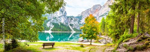 Obraz Pragser Wildsee  See in Italien Dolomiten, Berg, Alpen, Tirol, Südtirol, Landschaft / Lago di Braies lake in Italy Dolomites, Mountains, Alps, tyrol Landscape - fototapety do salonu