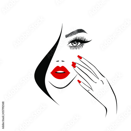 Fotografía Beauty logo, beautiful woman face, sexy red lips, eyelash extensions, fashion woman, hand with red manicure nails, hair salon sign, icon
