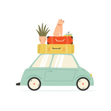 Van Carrying Suitcases, Flower...