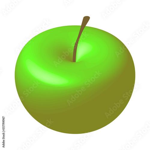 Obraz Isometric 3d green apple with a stalk. Ripe fruit. Vector EPS10. - fototapety do salonu