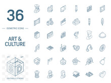 Isometric Line Art Icon Set. V...