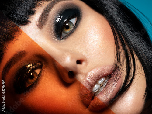 Tablou Canvas Glamour fashion model with black gloss make-up
