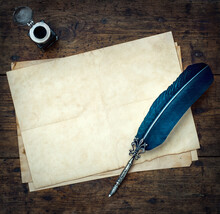 Old Quill Pen, And Old Paper B...