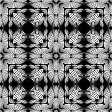 Lines Flowers Seamless Pattern...