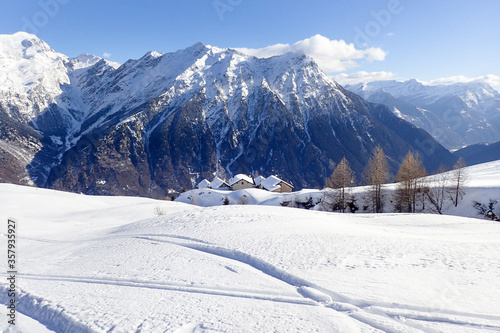 Mountain panorama of the ski area in the Lepontine Alps #357935927