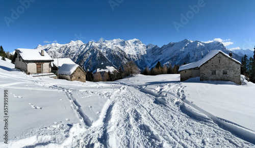 Mountain panorama of the ski area in the Lepontine Alps #357935998