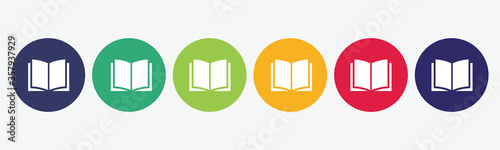 Obraz Book flat icon set. - fototapety do salonu