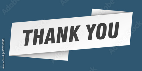 Photo thank you banner template. thank you ribbon label sign