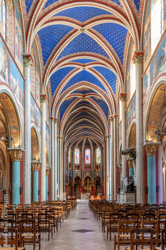 Paris, France - June 9, 2020: View of the Abbaye Saint-Germain-des-Pres abbey, a Romanesque medieval Benedictine church located on the Left Bank in Paris Wallpaper Mural