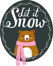 Let It Snow Vector Vector Post...
