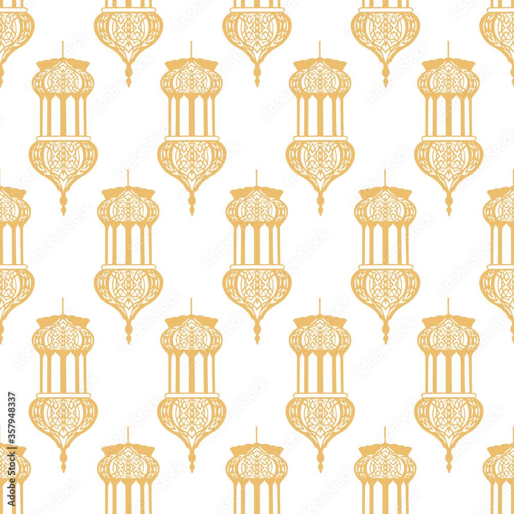 Arabic Lantern Geometrical Pattern Seamless Repeat Background