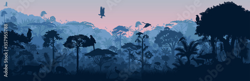 Foto Vector horizontal tropical rainforest Jungle background with animals