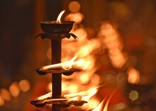 Burning Lamp In A Temple