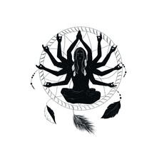Mystical Meditating Girl In Lotus Position With Dream Catcher. Space Woman In Esoteric Style. Yoga Practice. Boho Art.