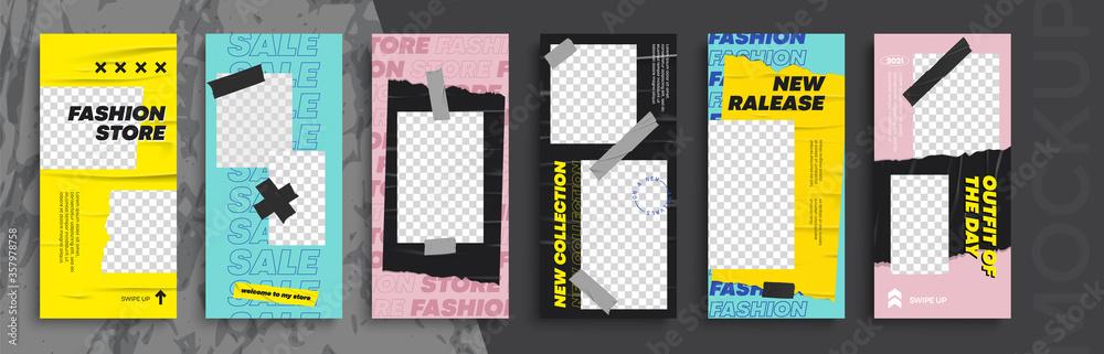 Fototapeta Trendy editable Instagram Stories template. Design  for social media. Flash Sale