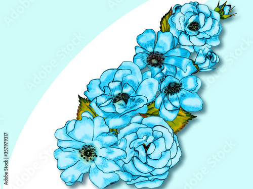 Fototapety, obrazy: Creative composition in the form of a bouquet of garden flowers. Blue miniature roses on a white background. Close-up. Theme of summer, abstraction. Illustration for print, drawing for creating floral