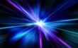 Leinwandbild Motiv 青紫の輝く放射光と放射線のアブストラクトのグラフィックス