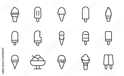 Photo Simple set of ice cream icons in trendy line style.