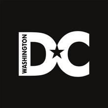 Washington DC. Word Slogan. Logo Design Of Capitol City. Vector Illustration.