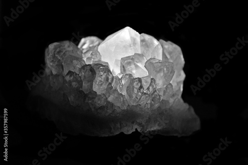Black and white photo of crystals