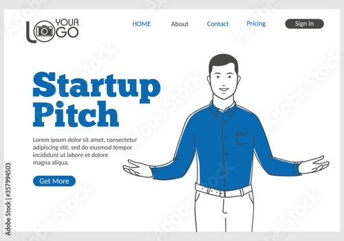 Photo Startup Pitch landing page in thin line style