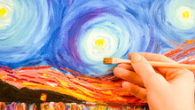 Painting Brush, Hand And Oil Canvas, Artist's Hand, Acrylic And Full Spectrum On Cardboard, Van Gogh The Starry Night